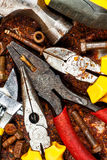Set of tools on a rusty background Royalty Free Stock Image