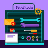 Set of Tools for Seo Flat Design Stock Photography