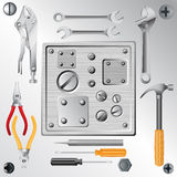 Set of tools and set of screws Stock Photo
