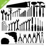 Tools silhouette vector. Set of tools silhouette vector Stock Image