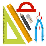 Set of tools for sketching, line, square, pencil, eraser, compass, protractor. In the style of a flat design. Stock Photos