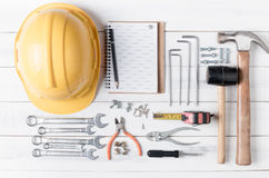 Set of tools supplies on wood background Stock Photo