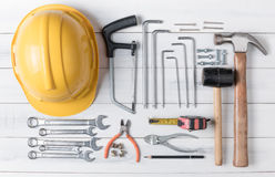 Set of tools supplies on wood background Stock Photography