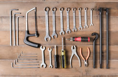 Set of tools supplies  on wood background top view Royalty Free Stock Photography
