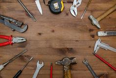 Set of tools on table. Stock Photos