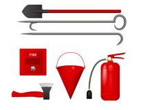 A set of tools to protect from fire. Vector illustration. Fire extinguisher, bucket, axe, shovel, crowbar, fire detector Royalty Free Stock Photography