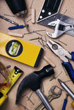 Set of tools to work at home. Top view Stock Image