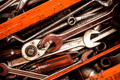 Set of tools. And tool box orange Royalty Free Stock Photo