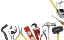 Set of tools in toolbelt tape measure nippers djustable wrench pliers pencil hammer cutter Royalty Free Stock Images