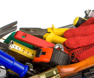 Set of tools in toolbox on white Stock Photo
