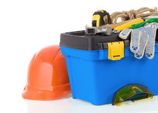 Set of tools on toolbox at white Stock Image