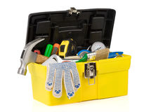 Set of tools on toolbox at white Royalty Free Stock Photos