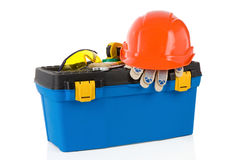 Set of tools on toolbox at white Royalty Free Stock Photo