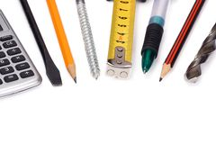 Set of tools on white Stock Image
