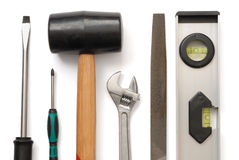 Set of Tools. On white background Stock Photography