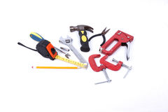 Set of tools on a white background Stock Photography