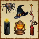 Set of tools for witches, five magic items Royalty Free Stock Photo