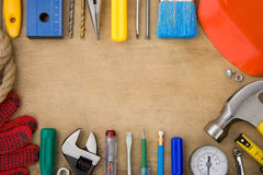 Set of tools on wood background Stock Images