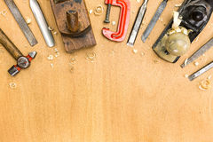 Set of tools on wood background Stock Image