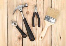 Set of tools on wood background Royalty Free Stock Photo