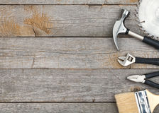 Set of tools on wood background Royalty Free Stock Photography