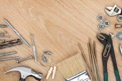 Set of tools on wood background royalty free stock image