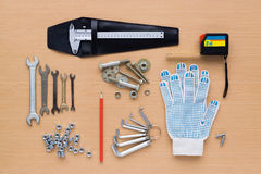 Set of tools on wooden background royalty free stock photos