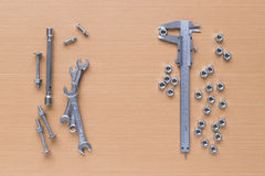Set of tools on wooden background royalty free stock image