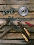 Set of tools on a wooden background Stock Image