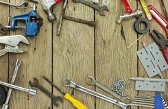 Set of tools on wooden background concept Father day and labor day background Copy space for your text.  stock photos