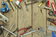Set of tools on wooden background concept Father day and labor day background Copy space for your text.  royalty free stock photography