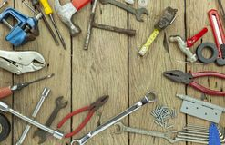 Set of tools on wooden background concept Father day and labor day background Copy space for your text.  royalty free stock photo