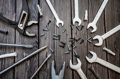 A set of tools on a wooden background stock photography