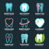Set of tooth logo design template. Dental logo. Dental clinic logo. Tooth logo. Healthy tooth logo. Dentist logo. Oral Stock Image