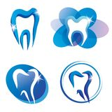 Set of tooth stylized vector icons. Isolated dental logo Stock Image