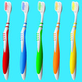 Set of Toothbrushes. Detailed vector illustration of brightly colored toothbrushes Royalty Free Stock Images