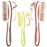 Set toothbrushes lub grępla dla rodziny z twarzami ludzkimi, ilustracja wektor