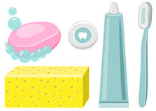 Set Of Toothpaste, Dental Floss, Toothbrush, Toohtpaste, Soap Stock Photo
