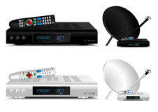 Set top box and dish antenna. Illustration Stock Photography