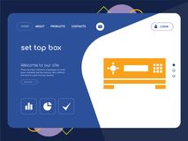 Set top box Landing page website template design. Quality One Page set top box Website Template Vector Eps, Modern Web Design with flat UI elements and landscape Stock Photos