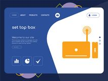 Set top box Landing page website template design. Quality One Page set top box Website Template Vector Eps, Modern Web Design with flat UI elements and landscape Royalty Free Stock Images