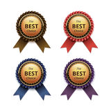 Set of Top Quality Golden labels with Ribbons. Vector Set of Top Quality Guarantee Golden labels with Colored Brown Red Blue Purple Violet Ribbons Close up Stock Photography