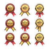 Set of Top Quality Golden labels with Ribbons Stock Photos
