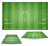 Set of top and side view of football fields. Textured soccer field. Green playground background. Ve. Ctor collection illustration Stock Photography