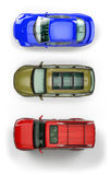 Set of top-view cars Royalty Free Stock Images