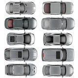 Set of Top view cars on white background Royalty Free Stock Images