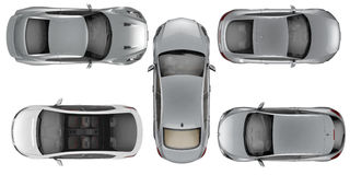 Set of Top view cars on white background Stock Image