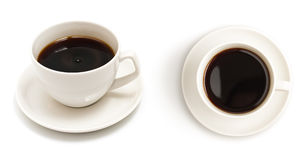 Set of top view coffee cup isolated Royalty Free Stock Image