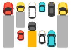 Set of top view various cars. Trucks, sedans and other transport Stock Image