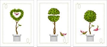 Set topiary karty ilustracja wektor